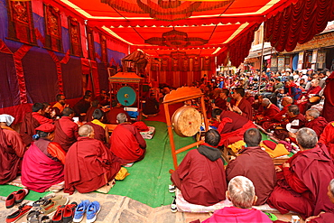 Tibetan monks performing rituals, Nepal, Asia