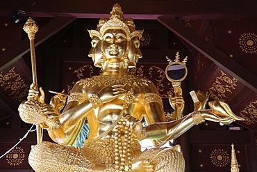 Brahma statue in Wat Chai Mongkhon, Chiang Mai, Thailand, Southeast Asia, Asia