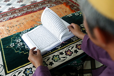 Muslim man reading an Arabic Holy Quran (Koran), Saigon Central Mosque, Ho Chi Minh City, Vietnam, Indochina, Southeast Asia, Asia