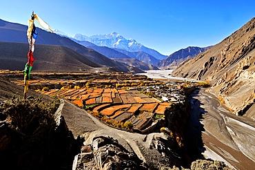 Kagbeni village and Kali Gandaki River, Mustang, Nepal, Himalayas, Asia