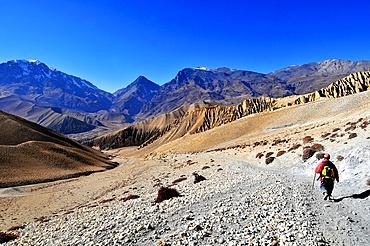 Trekker in Mustang, Nepal, Himalayas, Asia