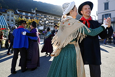 Savoyard folk dance with the cast of Chamochire, the agriculture fair (Comice Agricole) of Saint-Gervais-les-Bains, Haute Savoie, France, Europe
