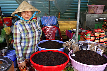 Woman selling black peppercorns, morning market in Duong Dong town, Phu Quoc, Vietnam, Indochina, Southeast Asia, Asia