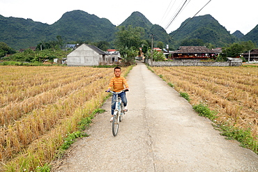 Boy riding bicycle in rural area, Bac Son, Vietnam, Indochina, Southeast Asia, Asia