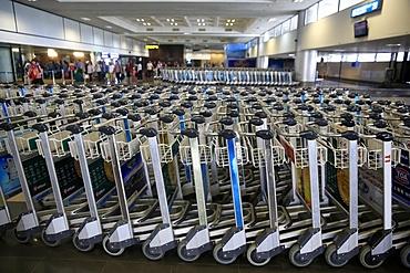 Luggage trolleys, Noi Bai International Airport, Hanoi Airport, Vietnam, Indochina, Southeast Asia, Asia