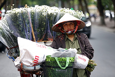 Vendor selling flowers from her mobile bicycle shop, Hanoi, Vietnam, Indochina, Southeast Asia, Asia