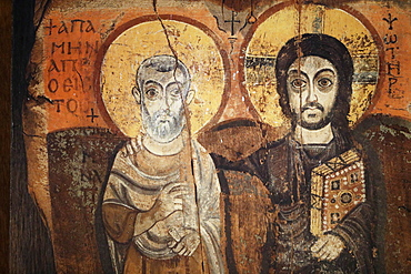 Jesus and Menas in a 6th century icon from Bawit in Middle Egypt, Saint-Pierre-le-Jeune Protestant Church, Strasbourg, France, Europe