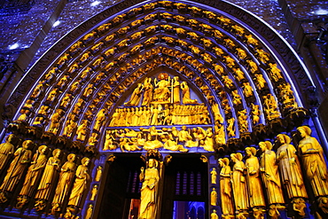 Sound and Light show at Notre Dame de Paris Cathedral, UNESCO World Heritage Site, Paris, France, Europe