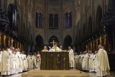 Michel Aupetit's first Mass as Paris Archbishop at Notre Dame de Paris Cathedral, Paris, France, Europe