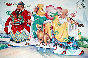Buddhist painting, Hoi Tuong Te Nguoi Hoa Buddhist Chinese temple, Phu Quoc, Vietnam, Indochina, Southeast Asia, Asia
