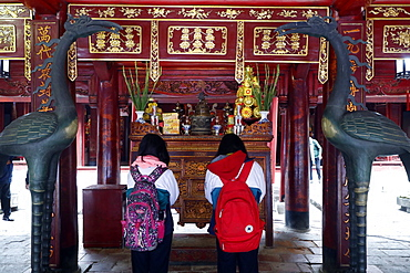 Altar of Confucius, Temple of Literature, a Confucian temple formerly a center of learning in Hanoi, Vietnam, Indochina, Southeast Asia, Asia