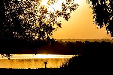 Karsome Lake at dusk, Togo, West Africa, Africa