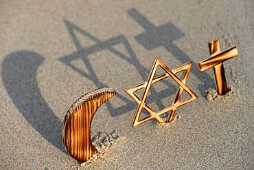 Interreligious symbols of the three monotheistic religions, Jewish Star, Cross and Crescent, for Judaism, Christianity and Islam, Vietnam, Indochina, Southeast Asia, Asia