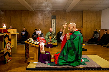 Kito ceremony during a Zen sesshin (retreat) in Lanau, Cantal, France, Europe