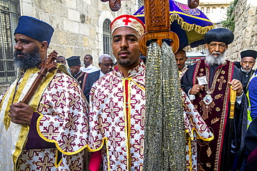 Good Friday Coptic Ethiopian Christian procession on the Via Dolorosa, Jerusalem, Israel, Middle East