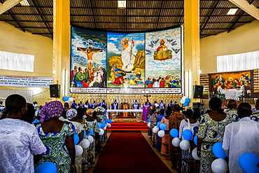 Celebration for the 20th anniversary of Radio Maria in Cristo Risorto de Hedzranawoe Catholic parish church, Lome, Togo, West Africa, Africa