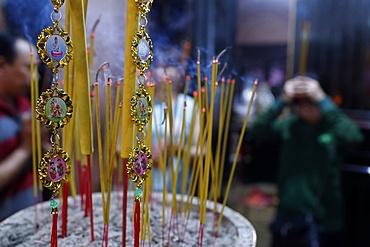 Close-up of incense sticks burning, Thien Hung Buddhist temple, Ho Chi Minh City (Saigon), Vietnam, Indochina, Southeast Asia, Asia