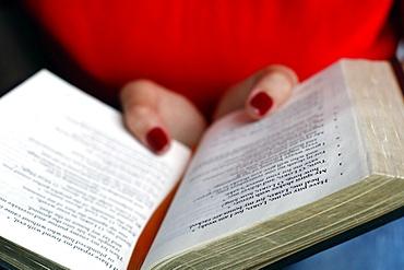 Christian woman reading the Bible, Vietnam, Indochina, Southeast Asia, Asia