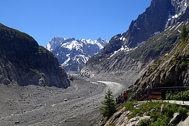 The Mer De Glace glacier which has thinned 150 meters since 1820, and retreated by 2300 meters, Mont Blanc Massif, Haute-Savoie, French Alps, France, Europe