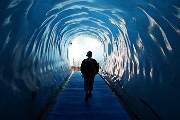 Mer de Glace Glacier Ice Cave, Mont Blanc Massif, Chamonix, Haute-Savoie, French Alps, France, Europe