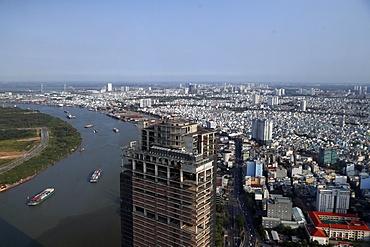 Saigon River and cityscape of Ho Chin Minh skyline, Vietnam, Indochina, Southeast Asia, Asia