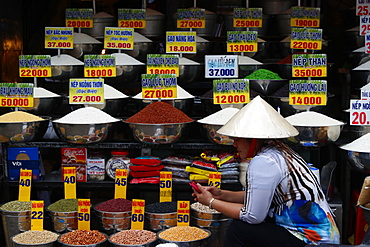 Vietnamese woman at market, dry food stall, Ho Chi Minh City, Vietnam, Indochina, Southeast Asia, Asia