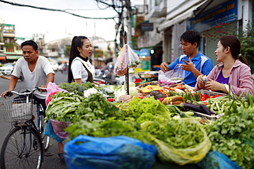 Street market with fresh vegetable stall, Ho Chi Minh City, Vietnam, Indochina, Southeast Asia, Asia