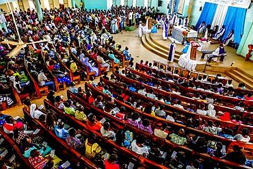 Sunday Mass in a Catholic church in Ouagadougou, Burkina Faso, West Africa, Africa