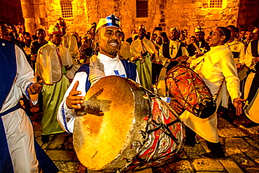 Ethiopian Orthodox Christians celebrating Easter vigil outside the Church of the Holy Sepulchre, Jerusalem, Israel, Middle East