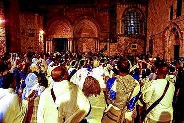 Ethiopian Orthodox Christians celebrating Easter, vigil outside the Church of the Holy Sepulchre, Jerusalem, Israel, Middle East