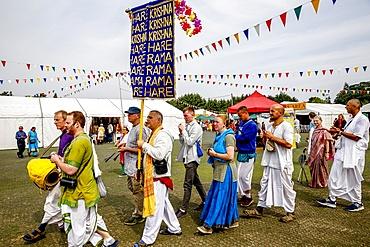 Devotees performing a Harinam during Janmashtami Hindu festival at Bhaktivedanta Manor, Watford, England, United Kingdom, Europe