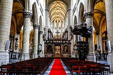 Nave, St. James's Catholic Church, Antwerp, Belgium, Europe