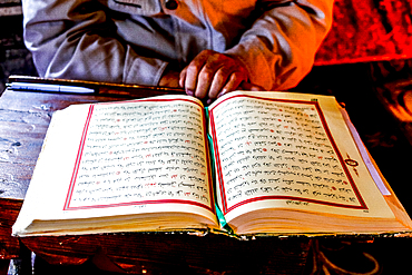 Macedonian Muslim reading the Koran, Pasha Mosque, the painted mosque of Tetovo, Republic of Macedonia, Europe
