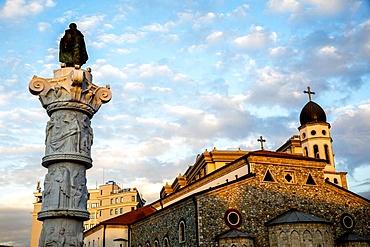 Column and Orthodox church in Skopje, Republic of Macedonia, Europe