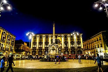 Piazza Duomo at night, Catania, Sicily, Italy, Mediterranean, Europe