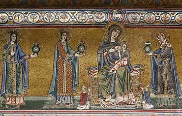Mosaic of Virgin and child in Santa Maria in Trastevere church, Rome, Lazio, Italy, Europe