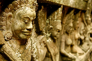Demon statues in Angkor, Siem Reap, Cambodia, Indochina, Southeast Asia, Asia