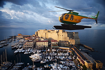 Santa Lucia and Coast Guard helicopter at dawn, Naples, Campania, Italy, Europe