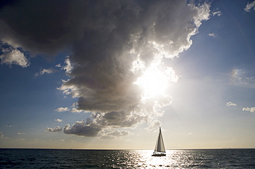 Yacht sailing in bay of Naples, Naples, Italy, Europe