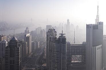 View of China Life building looking towards Nanpu bridge, Shanghai, China, Asia