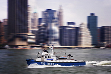 Police launch, Hudson River, New York City, United States of America, North America