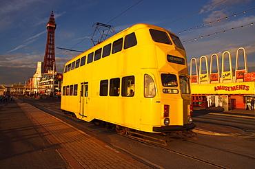 Double decker tram and Blackpool tower, Blackpool Lancashire, England, United Kingdom, Europe