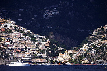 Amalfi from the Mediterranean, Campania, Italy, Europe