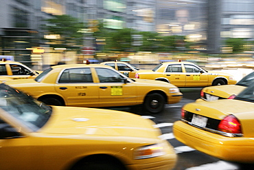 Moving New York taxis, Manhattan, New York, United States of America, North America