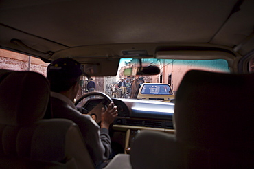 Taxi interior, Marrakech, Morocco, North Africa, Africa