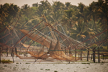 Chinese fishing nets, Kerala, India, Asia