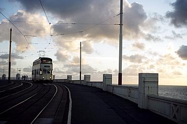 Blackpool Tram at dusk, Blackpool, Lancashire, England, United Kingdom, Europe