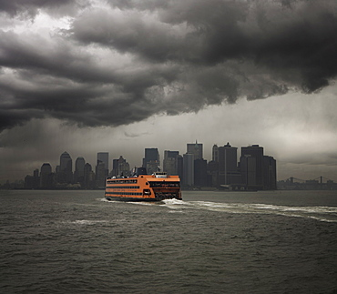 Staten Island ferry sailing towards Manhattan, New York, United States of America, North America