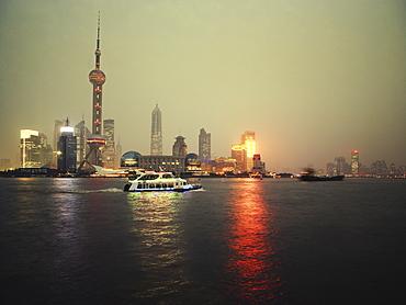 Shipping on Huangpu river, Shanghai, China, Asia