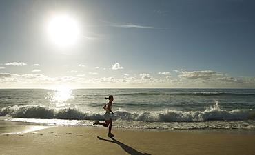 Early morning female runner, Bondi beach, Sydney, New South Wales, Australia, Pacific